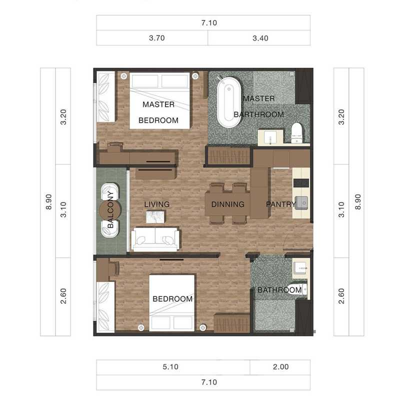 Floor Plan 2 Bedrooms