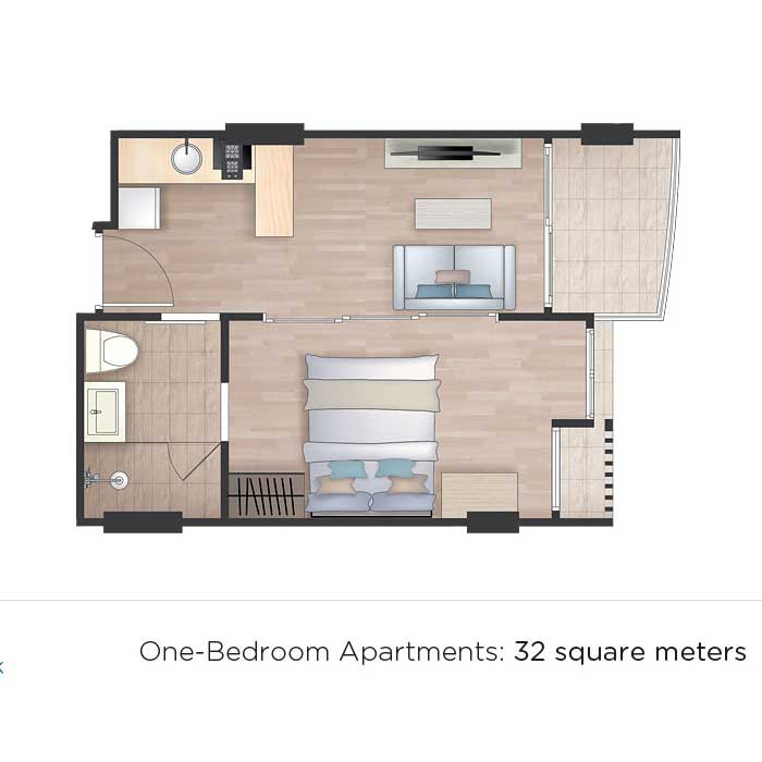 Floor Plan- 1 Bedroom Apartments
