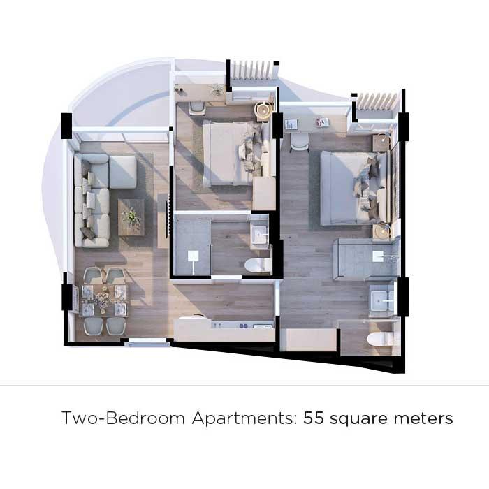 Floor Plan- 2 Bedrooms Apartments